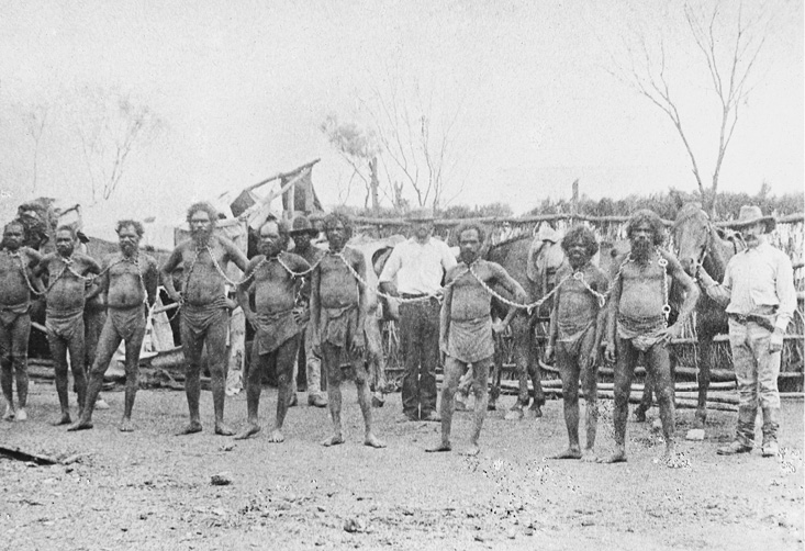 A group of Aboriginal men are standing in a row, chained together around their necks. White men and their horses stand behind them.