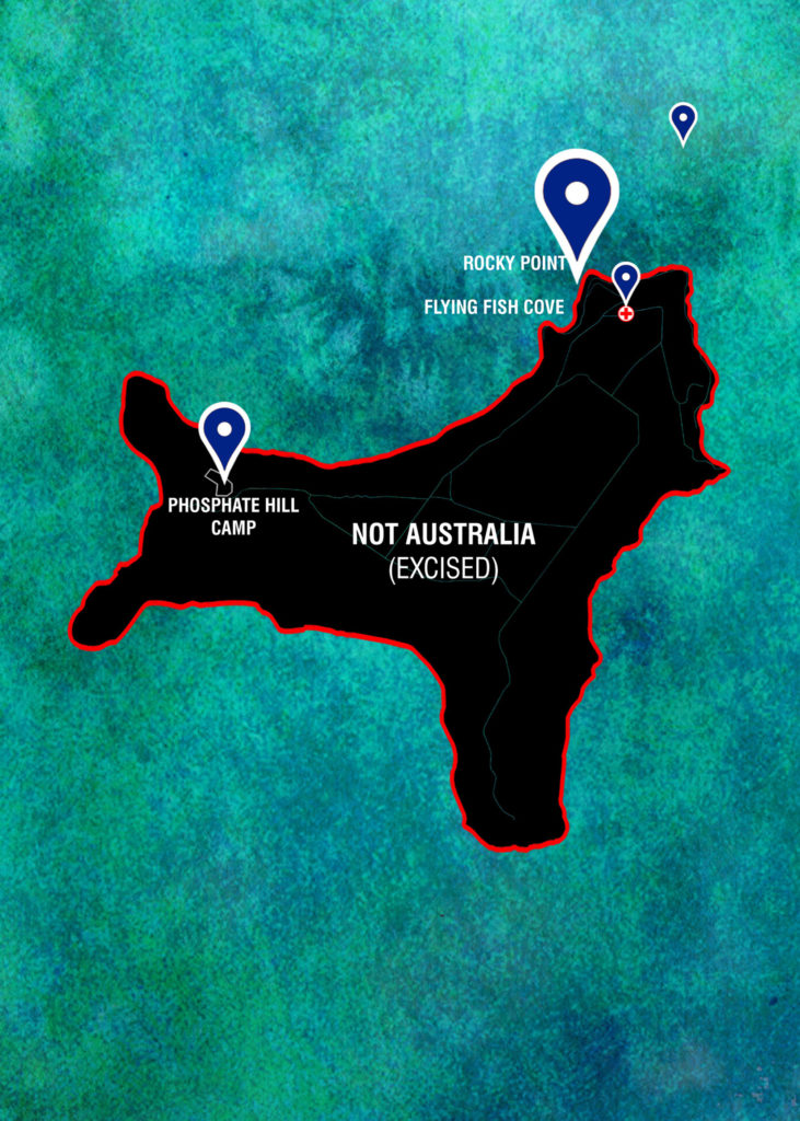 A digitally illustrated map of Christmas Island showing locations of deaths on and around the island. The island is labelled as 'Not Australia' in accordance with Christmas Island's excision from the Australian migration zone, despite being considered a part of Western Australia.
