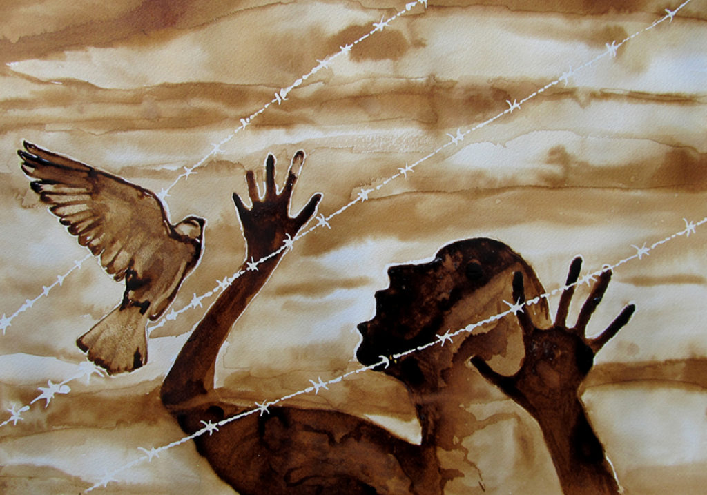 This is an artwork painted in Villawood IDC using coffee. It shows the silhouette of a screaming person behind barbed wire while on the other side of the wire, a bird is flying.