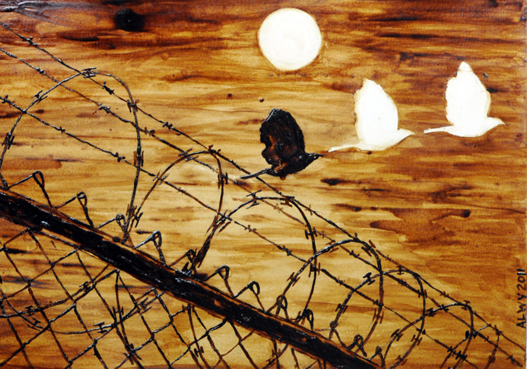 An artwork painted in Villawood IDC using coffee. It shows a fence topped with barbed wire on the left, the sun shining in the middle while three birds fly over the fence toward the sky.