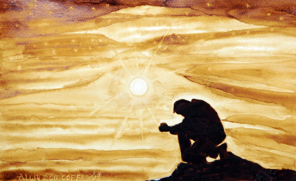 An artwork painted in Villawood IDC using coffee. A man is shown in silhouette, kneeling, face looking down to the ground. The sun shines in the centre of the painting, behind the figure.