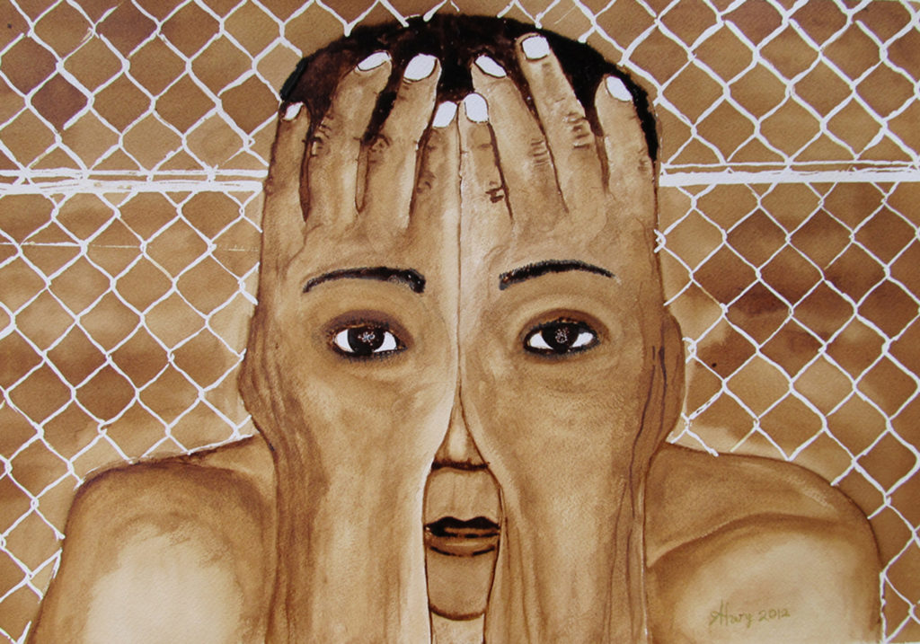 Painted in Villawood IDC using coffee. A person stands in front of a chain-link fence. Their hands cover their face, but eyes are depicted on their hands.