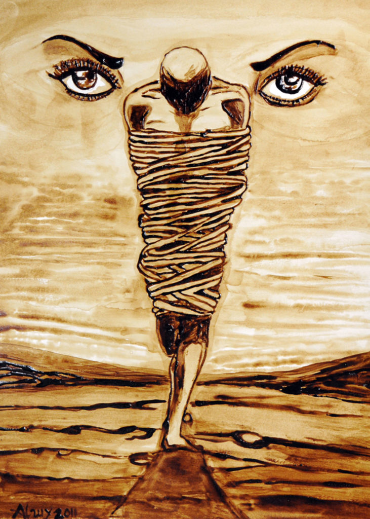 A figure stands in a desolate landscape, bound in rope. Their face is looking down and cast in shadow. Two piercing eyes appear in the sky above.