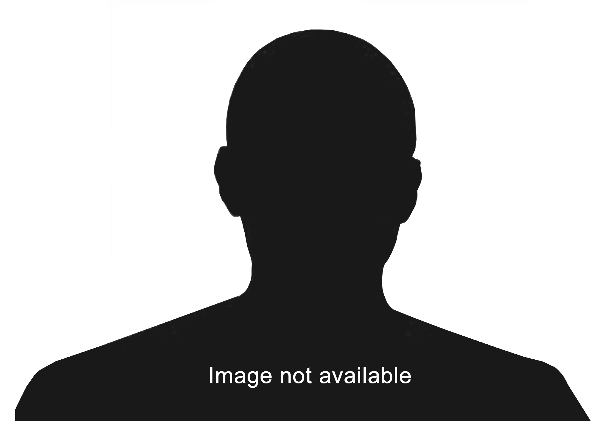 A black silhouette of a man's head and shoulders. Text reads 'Image not available'.