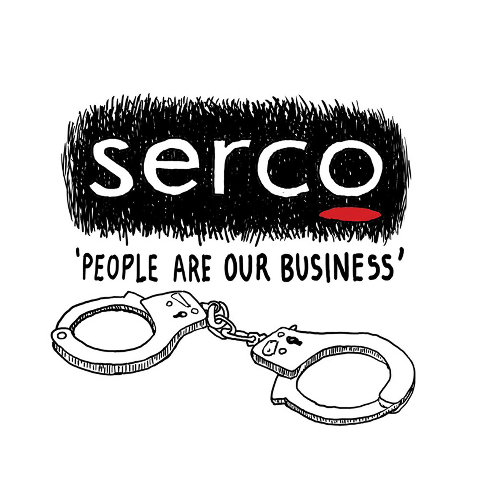 An illustrated version of the Serco logo is depicted with the slogan 'People are our business'. Below are a pair of handcuffs.