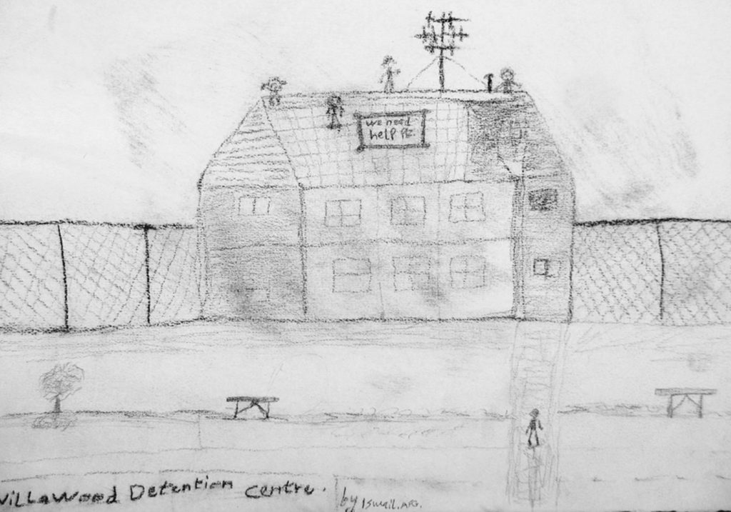 A lead pencil drawing of people protesting on the roof of a building in Villawood IDC. A banner on the roof says 'We need help' and fences are drawn in the background.