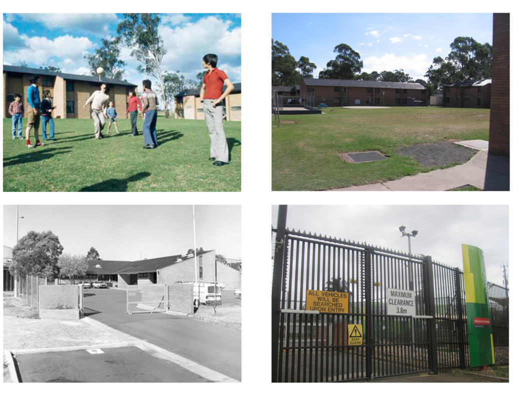 Four photos that contrast the Villawood Migrant Hostel and Villawood Immigration Detention Centre. In photos from the migrant hostel, families are pictured playing sport on the grass and fences are low and unobtrusive. In the Villawood IDC, grassed areas appear barren and tall fences restrict freedom of movement.