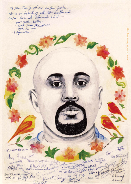 A handdrawn portrait of Josefa Rauluni. His face is framed by painted red flowers, green leaves and birds. A message is included at the top left corner dedicating the portrait to the family of Josefa Rauluni on behalf of those detained at Villawood IDC. The bottom of the page is covered in signatures/names of people who'd been detained with him.