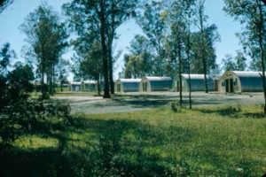 A row of Nissen huts, surrounded by trees and grass, pictured at the Villawood Migrant Hostel.