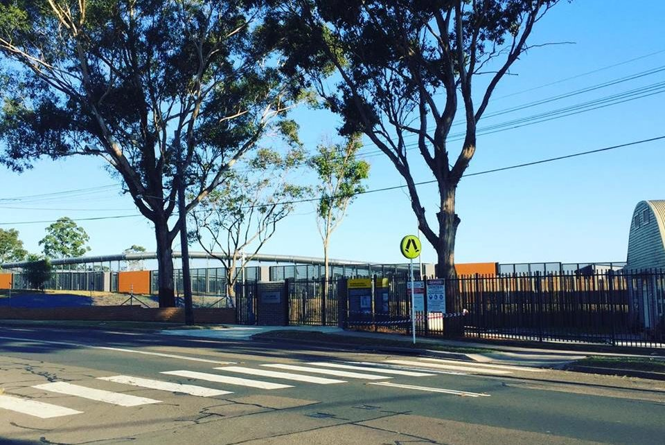 A view from the street of Villawood Immigration Detention Centre in the late afternoon. A suburban crosswalk is in the foreground. Fences and buildings can be seen in the background. A couple of large trees line the footpath.