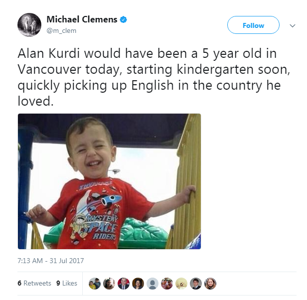 Michael Clemens Tweet imagining Alan Kurdi as a 5-year toddler living in Canada