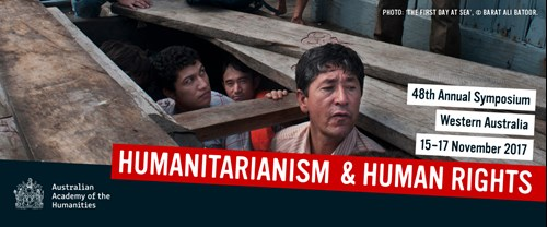 A promotional banner for the 'Humanitarianism & Human Rights' 48th Annual Symposium in WA. The photo used in the banner is a photo taken by Barat Ali Batoor of people in the lower deck of an asylum seeker boat.