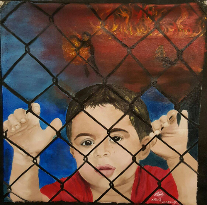 Another painting by the artist Abbas Alaboudi shows a child behind chain-linked fences. He grasps the fence with his hands and looks toward the viewer. In the background there is a man, presumably Omid, engulfed in flames. Flames colour the background red - a hellish scene.
