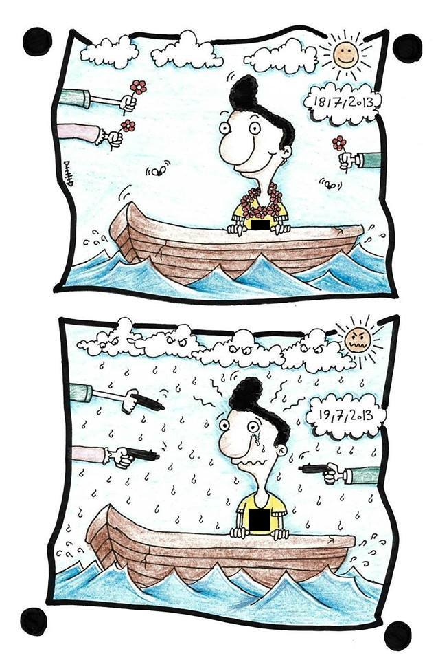 A cartoon by the artist Eaten Fish, depicts himself two different scenarios in a boat. The top shows the date 18/7/2013. Here hands reach towards him welcoming him and offering flowers. The sun is the sky smiles down on him. He appears happy and at peace. The bottom depiction shows the date 19/7/2013. Here hands point guns towards him, rain falls from the clouds and the sun glares. He appears distressed and upset.