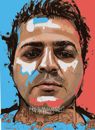 A digital portrait of Hamed Shamshiripour by Tia Kass. It shows Hamid's face. At the bottom the blue background becomes an ocean. A group of people are on a boat trying to seek asylum in Australia, some people fall into the ocean. They are denied entry to Australia. To the right of the image a group of figures are in a cage.