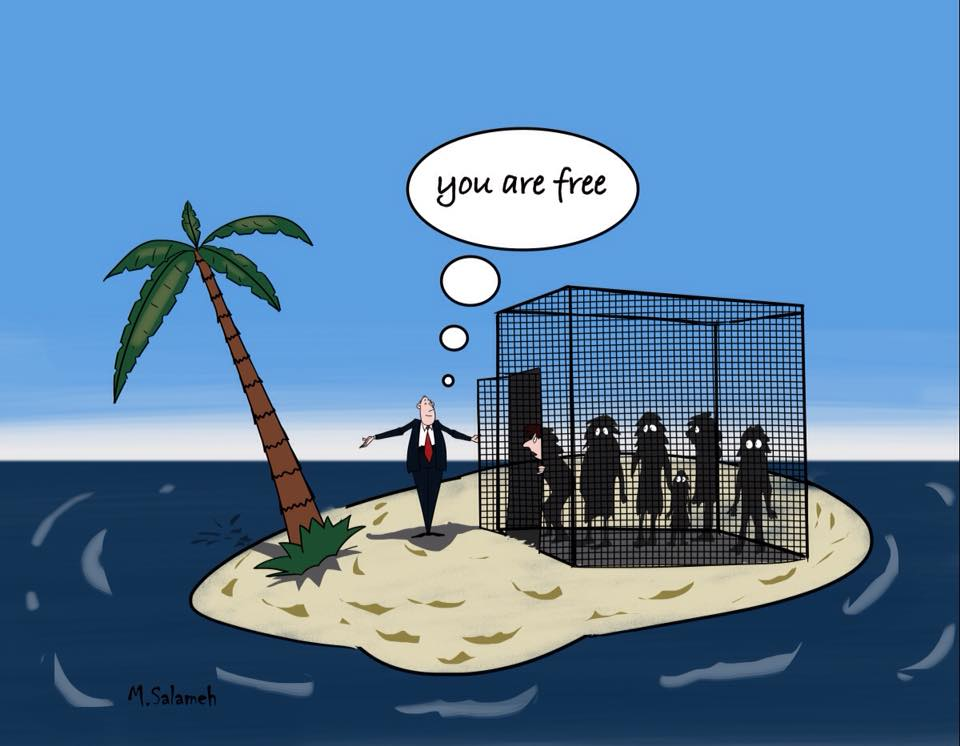 "Cartoon by Mahmoud Salameh that depicts Peter Dutton addressing a group of people in a cage with the door open, stating ""you are free"". They are on a tiny island scarcely bigger than the cage."