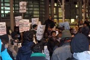 People demonstrating outside the Home Office in London and calling for justice for Jimmy Mubenga