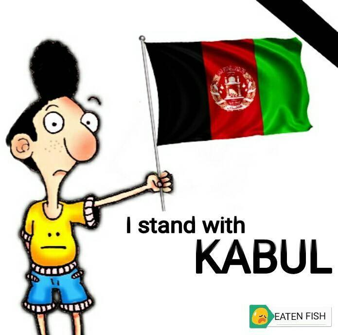 Eaten Fish holding Afghanistan flag with text 'I stand with Kabul'