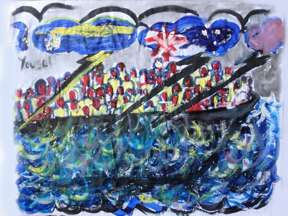 A child's painting shows a boat travelling across the ocean. There boat appears overcrowded with passengers. A cloud in the sky bears the Nauruan flag. Another cloud bears an Australian flag. One lightning bolt from the Nauruan cloud covers a section of people in the boat. Two lightning bolts from the Australian cloud covers the other two-thirds of the boat passengers.