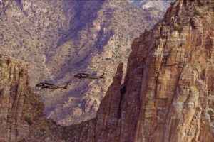 Two Black Hawk helicopters patrolling border.