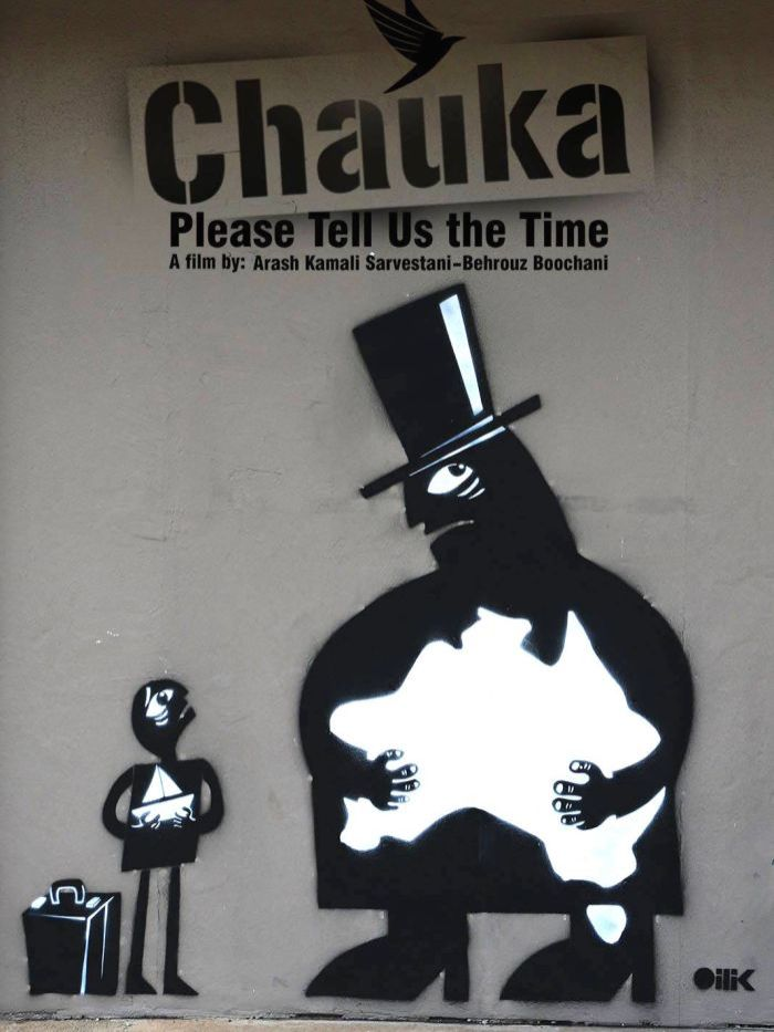 "Promotional poster for ""Chauka Please Tell Us the Time"" film. A large figure clutches onto Australia, while a small figure looks up at them holding a small boat with a suitcase beside them."