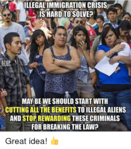 Popular anti-immigration imagery, reads 'Illegal immigration crisis is hard to solve? May be we should start with cutting all the benefits to illegal aliens and stop rewarding these criminals for breaking the law?'. There is a thumbs up at the bottom with text 'Great idea!'