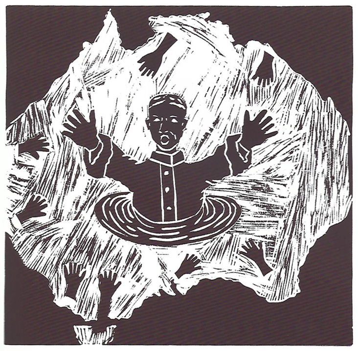 Figure depicted reaching out for help in silhouette of Australia. Hands reach towards them.