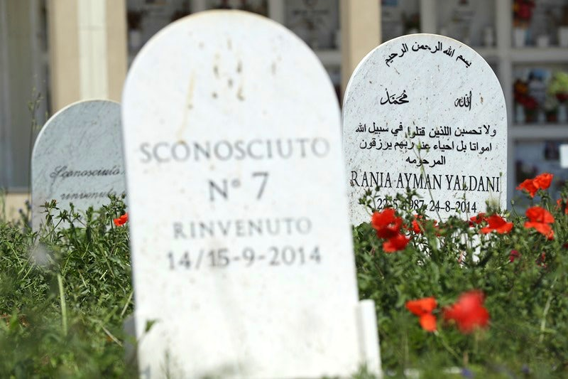 Gravestones with names and memorialisations written in Italian and Arabic in a grassed area. Delicate flowers are in the foreground.