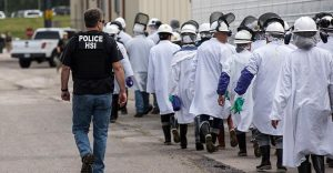 Images from workplace raid on June 20, 2018 at Fresh Mark, a meatpacking plant in Salem Ohio. ICE arrested 146 suspected undocumented workers.