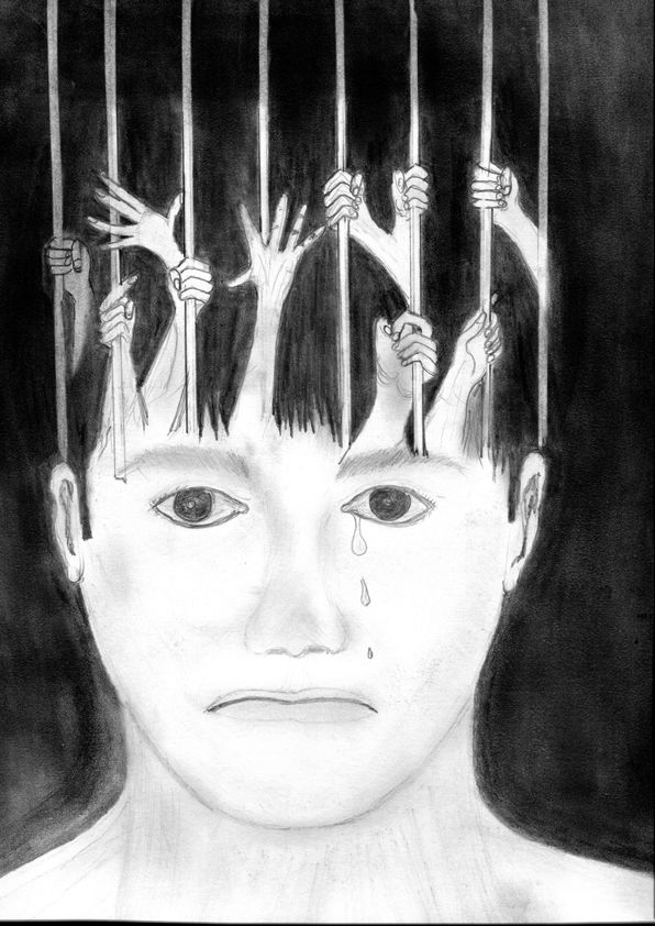 Drawing of a crying face. Vertical bars cross his head while arms grasp the bars. His mind is caged.