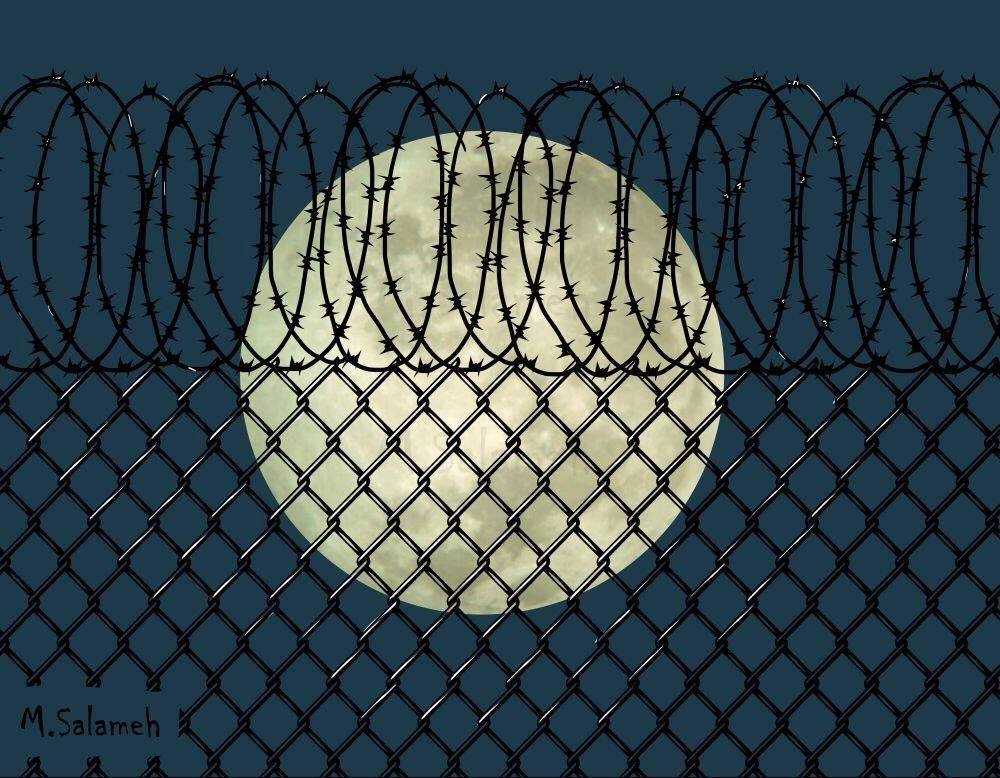 An illustration by Mahmoud Salameh of the moon viewed from behind a chain-linked fence and razor wire. The moon, which for some has become a symbol of connections through, across and over fences, shines brightly.