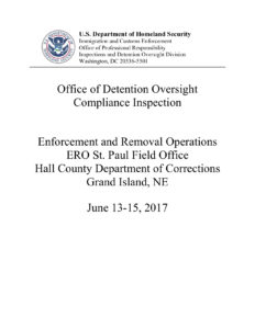 Office of Detention Oversight Compliance Inspection, conducted June 13-15, 2017.