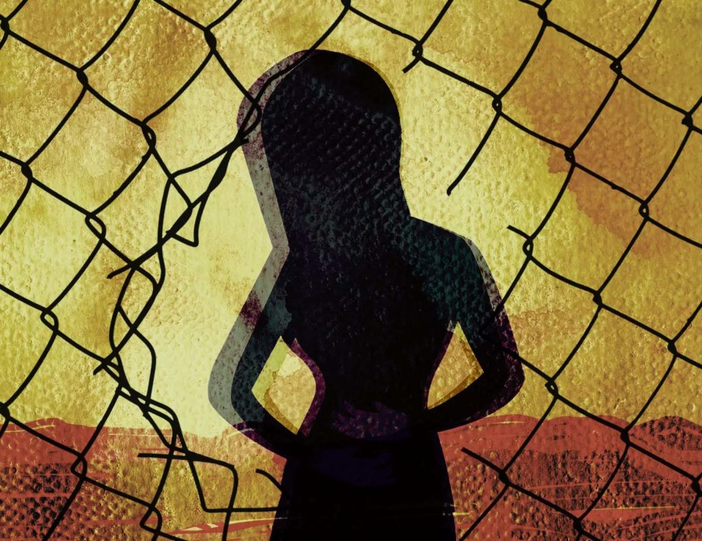 An illustration shows the silhouette of a woman with her hands holding her stomach. She is standing behind a chain-link fence that has a tear in it. She is standing behind the void.