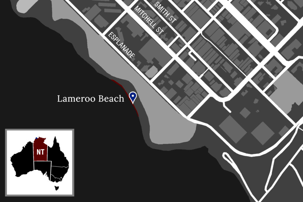 A map showing the location of Lameroo Beach relative to Darwin's main stretch on Mitchell Street.