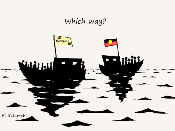 Two silhouetted boats filled with people drift in the ocean. One bears a flag with the word 'Refugees' and the other bears an Aboriginal flag. The passengers on each boat look toward each other and the question 'Which way?' hovers above them.