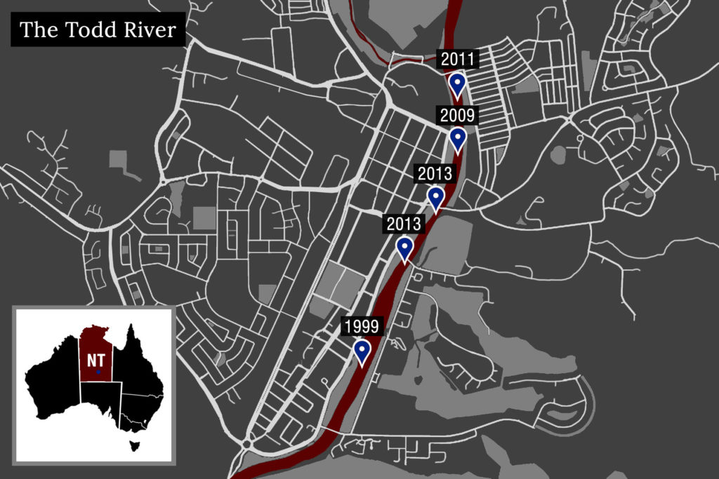 A map graphic showing streets in Alice Spring with a red River cutting through the centre. Along the river markers and dates are mapped that correspond to deaths of Indigenous women.
