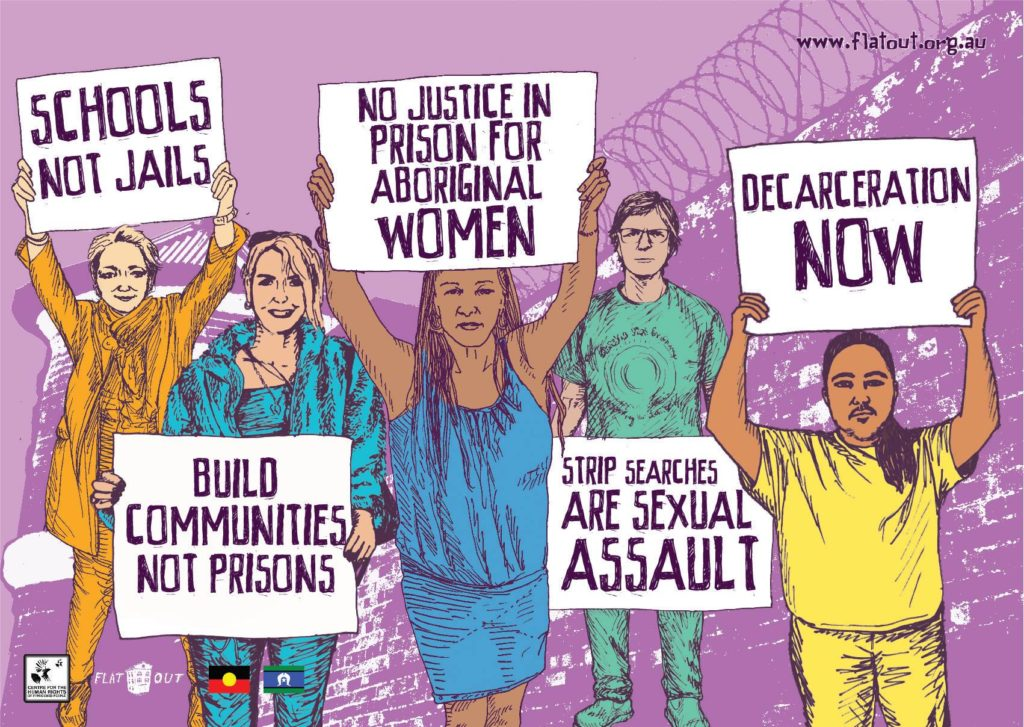 An illustration depicts five women standing together in a row in front of a brick wall topped with razor wire. They each hold a placard. The first one reads 'Schools not jails', the second reads 'Build Communities not Prisons', the third held by Aunty Vickie Roach says 'No Justice in prison for Aboriginal Women', the fourth held by Amanda George reads 'Strip Searches are Sexual Assault' and the final one reads 'Decarceration now'.