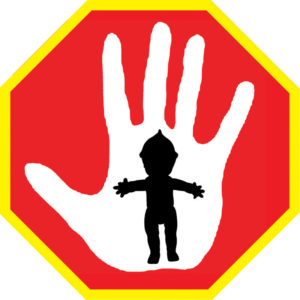 This graphic shows a black doll silhouette at the centre on top of a white handprint which is featured on a red stop sign.