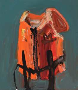 A painting of an orange life vest juxtaposed against a blue background.