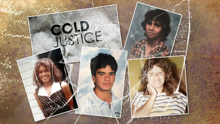 The 'Cold Justice' title is surrounded by photos of four Indigenous people - two women and two men - who have been killed in unjust circumstances.
