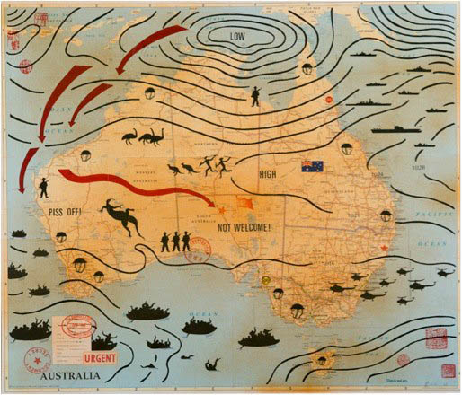 A map of Australia is overlayed with graphics including what appears to be high and low pressure zones, a fleet of asylum seeker boats from the south-west, a fleet of naval ships from the north-east and helicopters swarming down from the east. Militarised figures, representations of Indigenous people as well as native animals are pictured on the land. Words including 'Piss off!' and 'Not Welcome' are also written within Australia's borders.