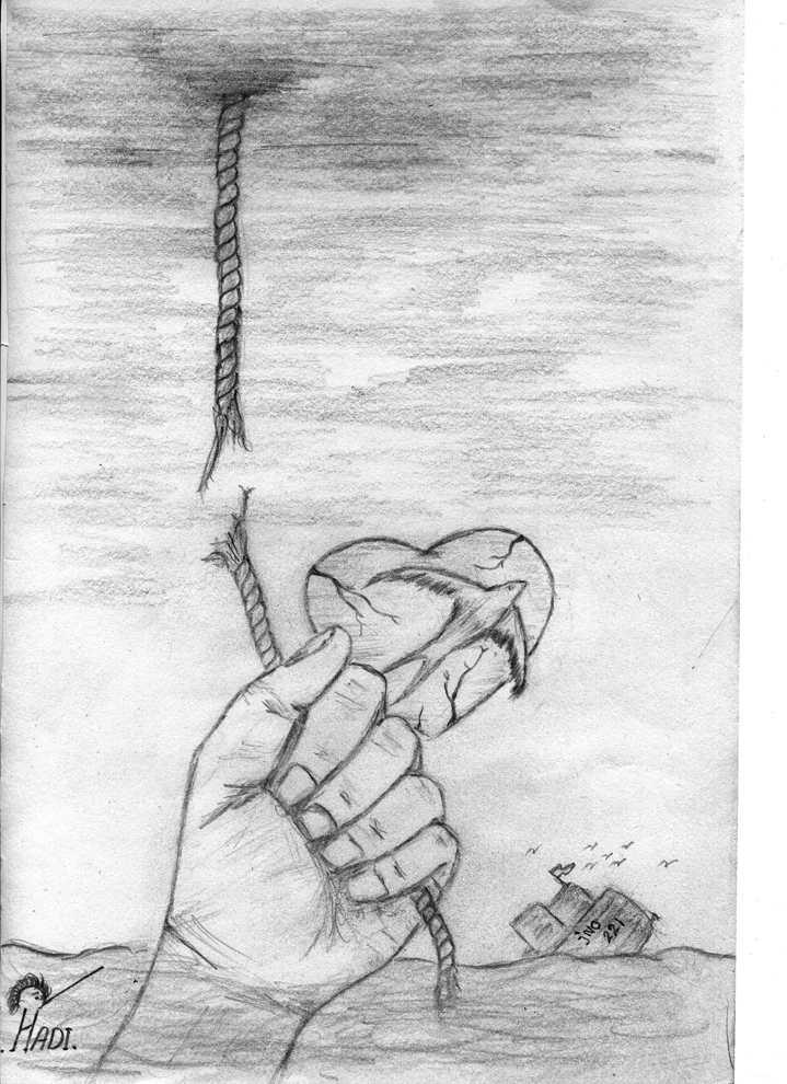 A pencil drawing of a hand reaching out of the ocean, it grasps the end of a rope that is dangling from the sky, however the rope breaks in the centre. In the background, a boat can be seen sinking in the ocean with birds flying above it. A heart shape floats in the sky and a bird soars upwards in front of it.