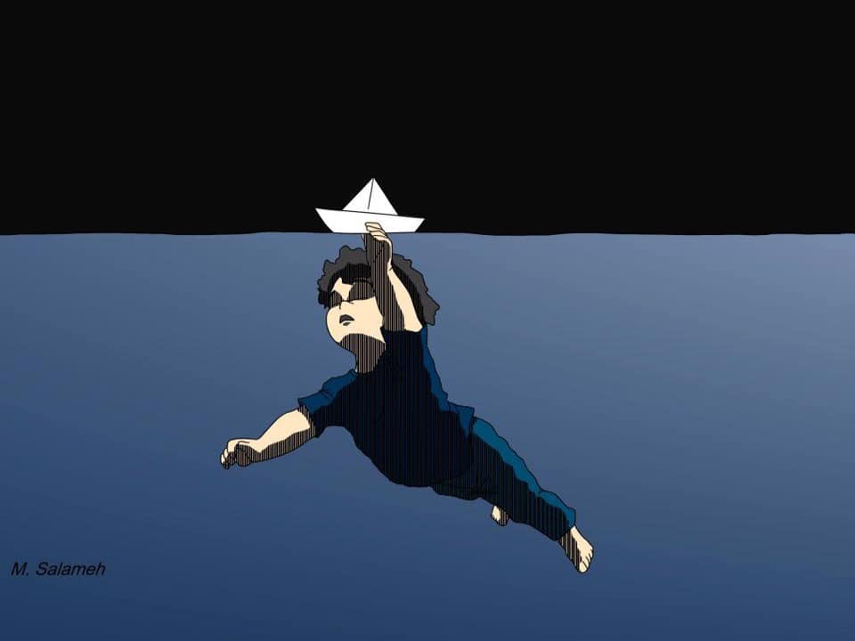 An illustration in which a young child, perhaps a toddler, drifts gracefully below the water's surface. The child holds on to a folded paper boat with one hand which floats above the surface, carrying the child along with it. The sky is solid black and the child is the sole figure in the vast blue sea.