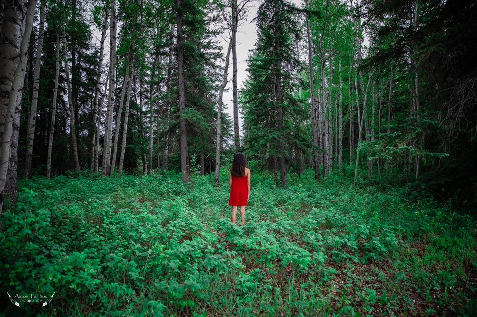 A woman stands at the centre of the photo with her back towards us in the expanse of a lush, green forest. She has long black hair and is wearing a red dress.