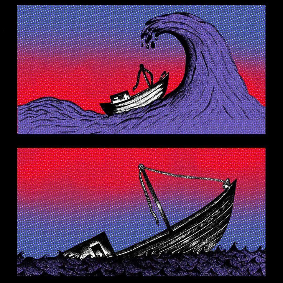 The composition is split into two horizontally. In the top image a large wave threatens to crash down on a small timber boat. In the bottom image, the boat has capsized and only the front tip remains above the surface.
