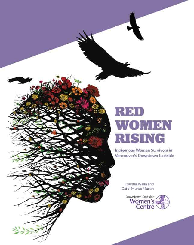 The cover of the report 'Red Women Rising: Indigenous Women Survivors in Vancouver's Downtown Eastside'. Pictured on this cover is the profile of a woman's face constructed out of tree branches and flowers, three black crow silhouettes fly over her.