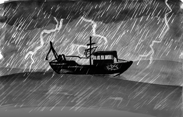 In this illustration a black boat drifts across grey waters as rain pours from heavy, dark clouds above and lightning flickers across the sky.