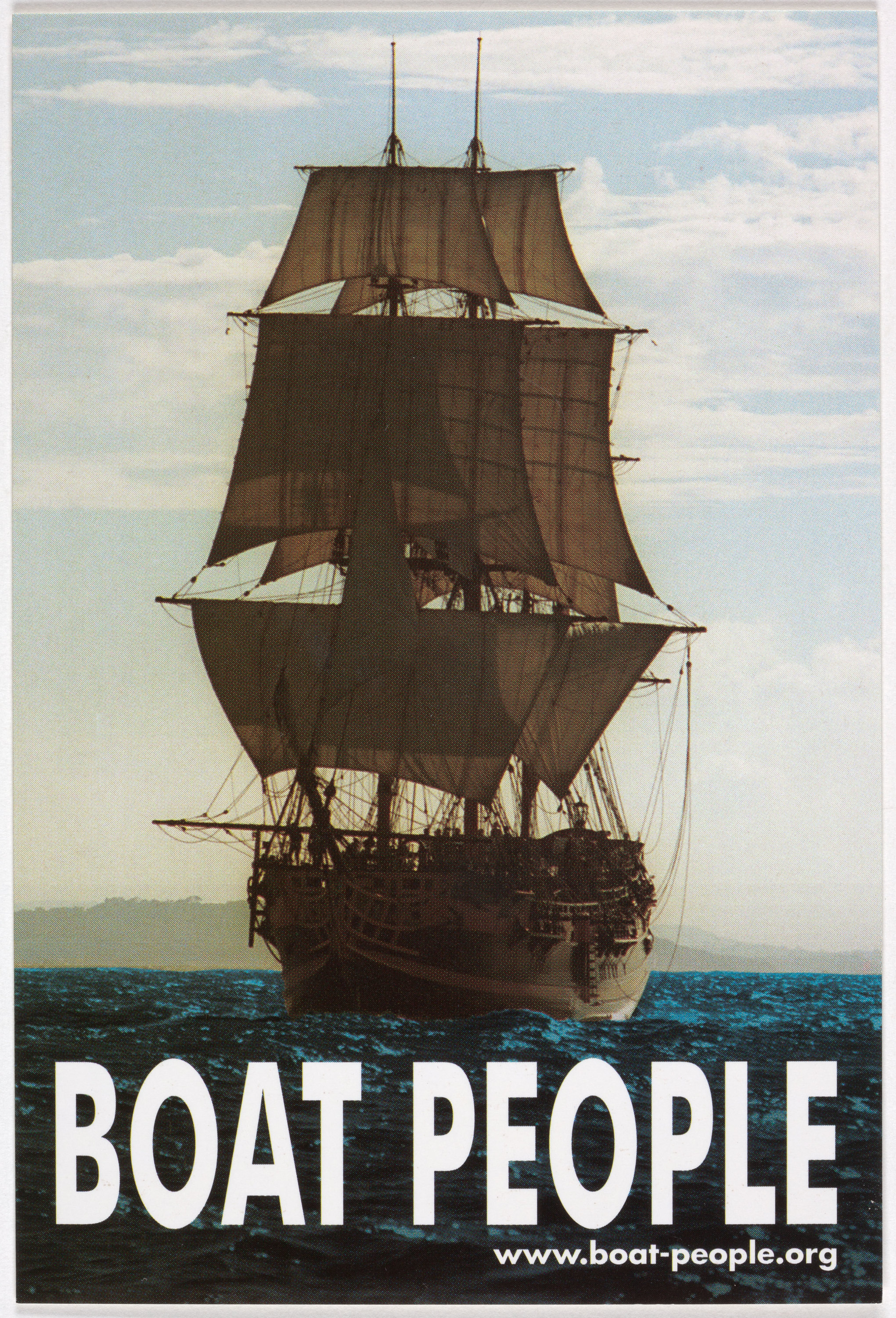 A colonial ship with large sails crosses the ocean. In large, bold white print at the bottom of the poster are the words 'BOAT PEOPLE'.