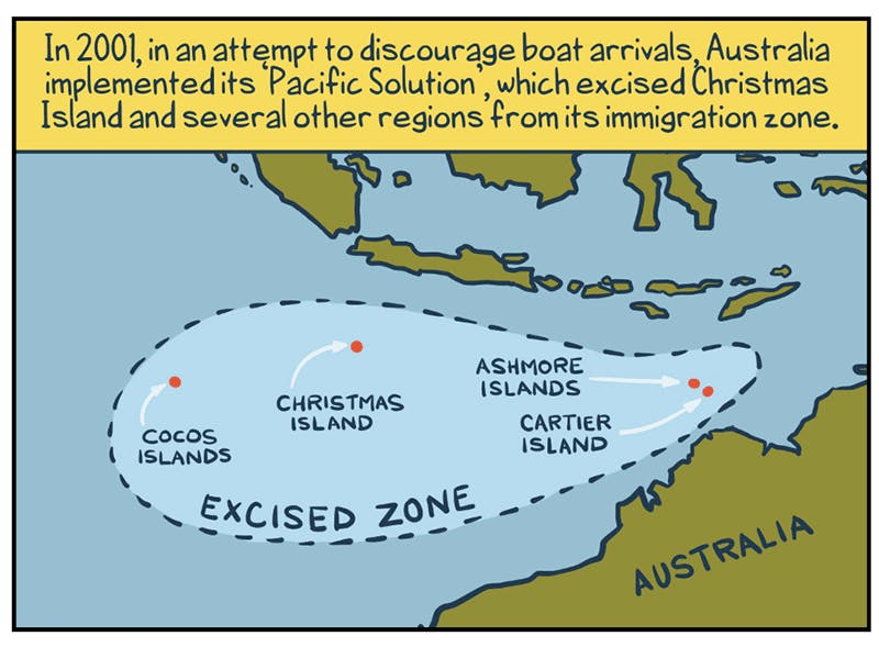 An illustrated map shows the relationship between Australia and Cocos Islands, Christmas Island, Ashmore Islands and Cartier Island, which are marked as being in an excised zone. Explanatory text at the top of the image reads 'In 2001, in an attempt to discourage boat arrivals, Australia implemented its 'Pacific Solution', which excised Christmas Island and several other regions from its immigration zone'.