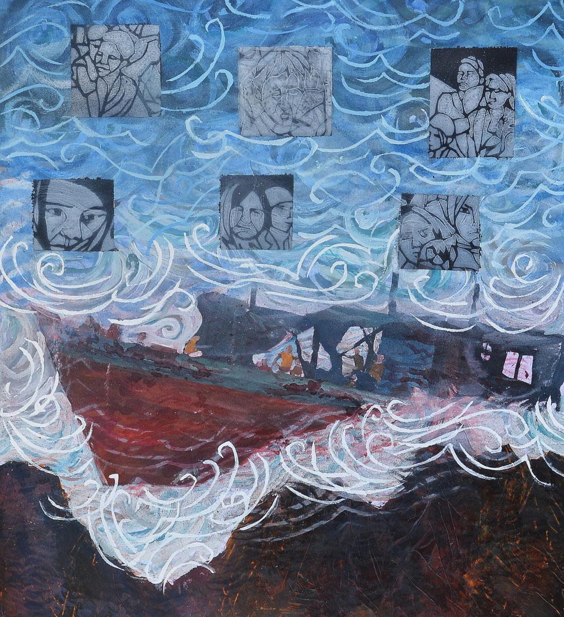In this painting a boat drifts towards a rocky coast, silhouettes of people can be seen on board. Peoples' faces are inserted into six squares above the boat, which are juxtaposed above waves in the background.
